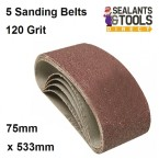 120 Grit Sander Sanding Belts Glass Paper 75mm 533mm 5pk 625574
