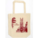 LOW COST CALICO GUSSETED BAG SINGLE COLOUR PRINT