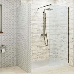1400 x 800mm Walk In Shower Enclosure - 700mm Screen - 8mm Glass & Podium Anti Slip Easy Plumb Tray