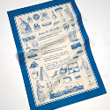 UNBLEACHED COTTON TEA TOWELS ONE SPOT COLOUR ALL OVER PRINT