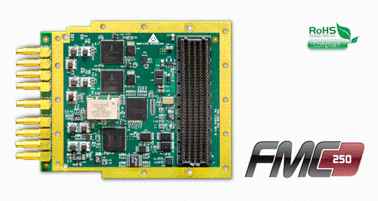 FMC-250 Data Acquisition board with ISLA216P25 250MSPS ADCs and 1200MSPS DACs on FMC