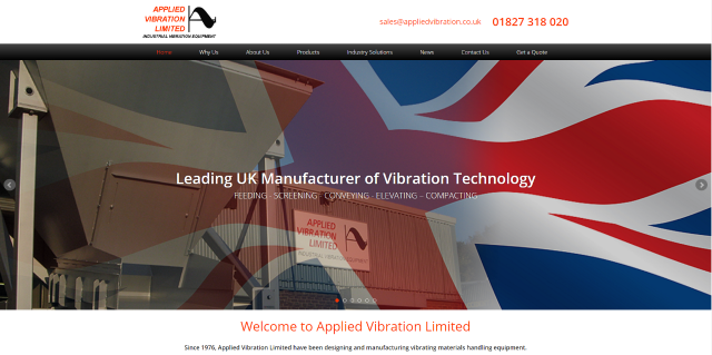 Showcasing Applied Vibration Limited's product handling solutions with new website launch