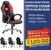 NEW DESIGNED RACING SPORT SWIVEL OFFICE CHAIR WITH SILVER BASE